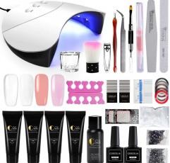 [해외] 폴리 네일 젤 키트 4색, 36W LED 램프, 손톱 매니큐어 도구 키트, 15 ml