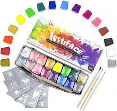 festiFACE 키즈 & 어른용 페이스 페인팅 키트 - 14 Professional Grade Supersize Colors 선물 세트