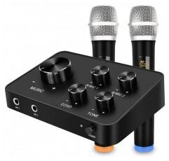 듀얼 UHF 무선 마이크, 가라오케, 홈 시어터, 앰프, 스피커 용 HDMI 및 AUX 입 / 출력이 가능한 휴대용 가라오케 마이크 믹서 시스템 세트