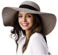 여성 태양 밀짚 모자 넓은 테두리 UPF 50 여름 모자 접이식 롤업 플로피 비치 모자
