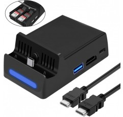 HEYSTOP Dock for HDMI 와이어가있는 Nintendo 스위치, Nintendo Switch Dock 교체 HDMI 케이블이있는 1080P 미니 충전 스테이션, 4 개의 게임 카드 저장 장치가있는 USB 3.0 고속 TV 도킹 스테이션