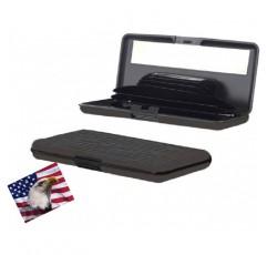 아이렛. 알루미늄 지갑 LARGE, 회색, 저항력있는, RFID 블록이있는 신용 카드 홀더, 거울, 포켓 7 개. 울트라 슬림, 휴대용, 여행용