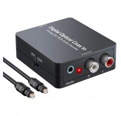eSynic 디지털 - 아날로그 오디오 디코더 컨버터는 1m 4.0 광 케이블 및 PS3 DVD- 블랙용 USB 전원 케이블을 갖춘 2.0CH L/R 아날로그 스테레오 오디오에 Dolby 5.1 DTS 디지털 토슬링 동축 을 지원합니다.
