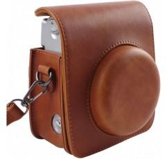 조절 가능한 스트랩이있는 Fujifilm Instax Mini 90 즉석 필름 카메라 용 보호 케이스-SAIKA의 Brown