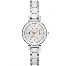 DKNY 스테인리스 스틸 스트랩이 달린 여성용 엘링턴 아날로그 쿼츠 시계, 실버, 10 (모델 : NY2588)