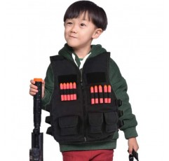 어린이 전술 구슬, 어린이 야외 스포츠 TacticVeste/JacketWoodland육군 전투 훈련소 야외 헌팅 CS게임용 총탄형(銃彈形)주머니( 검은 색)
