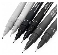 유니 핀 파인라이너 펜, 스케치 세트, 그레이, 0.1/0.5 mm, 6장