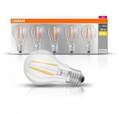 오스람 LED 베이스 클래식 램프, 소켓: E27, 따뜻한 화이트, 2700K, 7W, 60W 전구 교체, 클리어, 팩 5