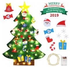 Idefair DIY 펠트 크리스마스 트리 26 개 분리 장식 문자열 조명 3.2 피트 매달려 크리스마스 장식