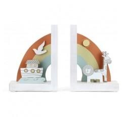 DEMDACO 노아의 방주 동물 무지개와 흰색 8 x 6 목재 및 금속 장식 북 엔드