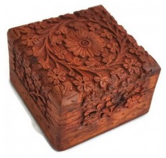 공예품 보석 상자 참신 항목, 독특한 장인 전통적인 손으로 조각 인도에서 인도에서 자단 보석 상자