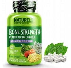 NATURELO Bone Strength-식물성 칼슘, 마그네슘, 칼륨, 비타민 D3, VIT C, K2-GMO, 간장, 글루텐 프리 성분-뼈 건강을위한 최고의 식품 보조제-120 식물성 캡슐