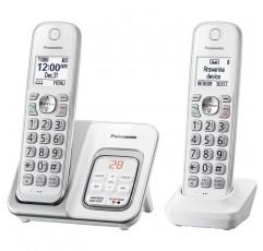 자동 응답기와 스마트 통화 차단 기능이있는 Panasonic DECT 6.0 확장형 무선 전화기-2 개의 무선 핸드셋-KX-TGD532W (흰색)