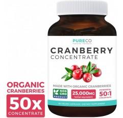 유기 크렌베리 환약-50 : 1 농축 물은 신장 정화 및 요로 건강을 위한 25,000mg의 신선한 크랜베리 (비건)와 동일합니다-UTI 비타민 지원-과일 추출물 보충제-60 캡슐