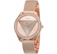 Guess 여성용 연중 쿼츠 시계, 스테인리스 스틸 스트랩, 로즈 골드, 16 (모델 : W1142L4)