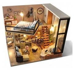 UniHobby DIY 인형 집 키트 방진 커버 1:24 규모 나무 DIY 소형 인형 집 키트 장난감 선물