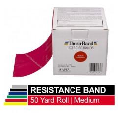 TheraBand 저항 밴드, 상하체 및 코어 운동을위한 50 야드 롤 전문 라텍스 탄성 밴드, 필라테스, 재택 운동, 재활, 빨강, 중간, 초보자 레벨 3
