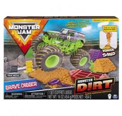 Monster Dirt & 1:64 Scale Die-Cast Truck이 포함 된 Monster Jam Grave Digger Monster Dirt Deluxe Set