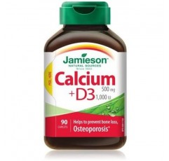 Jamieson Calcium & Vitamin D3, 500mg / 1000IU, 90 캡슐