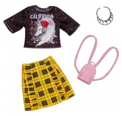 바비 컴플리트 인형 옷, 캘리포니아 러브 티와 체크 무늬 스커트 플러스 2 액세서리, 3 ~ 8 세 어린이를위한 의상 인형