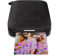 HP Sprocket 휴대용 포토 프린터 (2 판) - 휴대폰에서 2x3 스티커 사진 지원 - [Noir] [1AS86A]