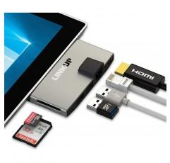 LINKUP Surface Pro 6 (5) 호환 SD 카드 마이크로 메모리 리더 어댑터 허브 | 6-in-1 도킹 스테이션 | 4K HDMI 기가비트 이더넷 SD / 마이크로 SD 카드 슬롯, 2x USB-A 3.0 포트 | 표면 프로 5/6 용으로 설계됨