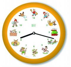 KOOKOO 어린이 노래 노란색, 작은 벽 시계, 21cm, 매 시간 마다 12 잘 알려진 어린이 노래 중 하나는 빛 센서와 함께 zither와 알토 플루트에 소리