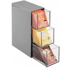 3 개의 서랍이있는 mDesign 커피 주최자 - 티백, 커피 포드, 과자 등을위한 보관 상자 - 플라스틱 티 박스 - 회색